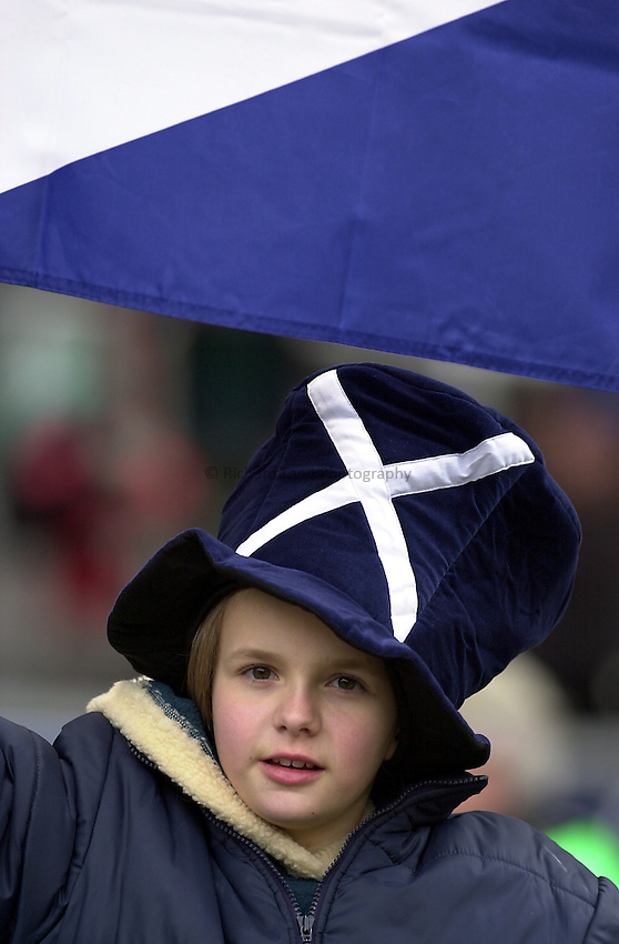 Photo. Mike Brett.Lloyds TSB Six Nations Championship. .England v Scotland at Twickenham. 3/3/2001.Young Scotland fan