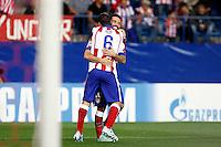 Koke of Atletico de Madrid scores during Champios Legue soccer match between Atletico de Madrid V Malmoe al Vicente Calderon Stadium. October 22, 2014. (ALTERPHOTOS/Caro Marin)
