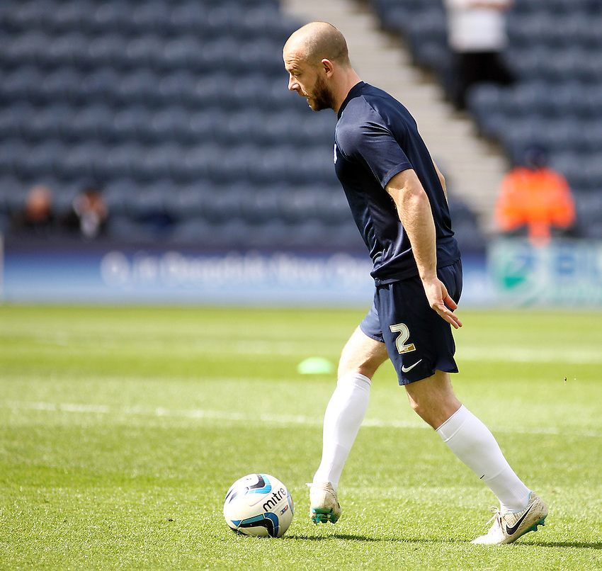 Preston North End's Keith Keane during the pre-match warm-up <br /> <br /> Photo by Rich Linley/CameraSport<br /> <br /> Football - The Football League Sky League One - Preston North End v Gillingham - Saturday 26th April 2014 - Deepdale - Preston<br /> <br /> &copy; CameraSport - 43 Linden Ave. Countesthorpe. Leicester. England. LE8 5PG - Tel: +44 (0) 116 277 4147 - admin@camerasport.com - www.camerasport.com