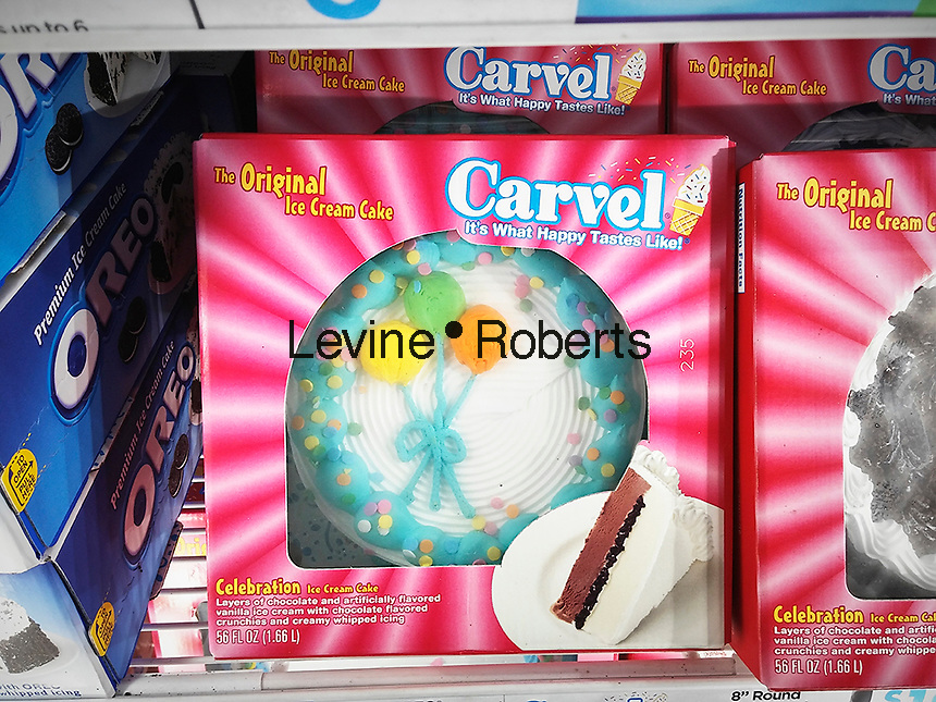 Carvel brand ice cream cakes in a supermarket freezer in New York on Thursday, April 7, 2016. Carvel, primarily a Northeast chain, recently announced expansion plans across the country in an arrangement with the Cinnabon and Auntie Annes' chains. All three brands are owned by Focus Brands. The 82 year old Carvel brand has over 400 locations on the East Coast and in Florida. (©Richard B. Levine)