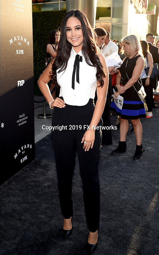 "LOS ANGELES - AUGUST 27: Emily Tosta attends the season two red carpet premiere of FX's ""Mayans M.C"" at the ArcLight Dome on August 27, 2019 in Los Angeles, California. (Photo by Frank Micelotta/FX/PictureGroup)"