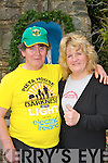 Dan Horan  Scartaglen and Our lady of Lourdes Care Facility Kilcummin who walked in the Lightness into Darkness walk in aid of Pieta House is congartulated by Debbie Baxter on saturday..
