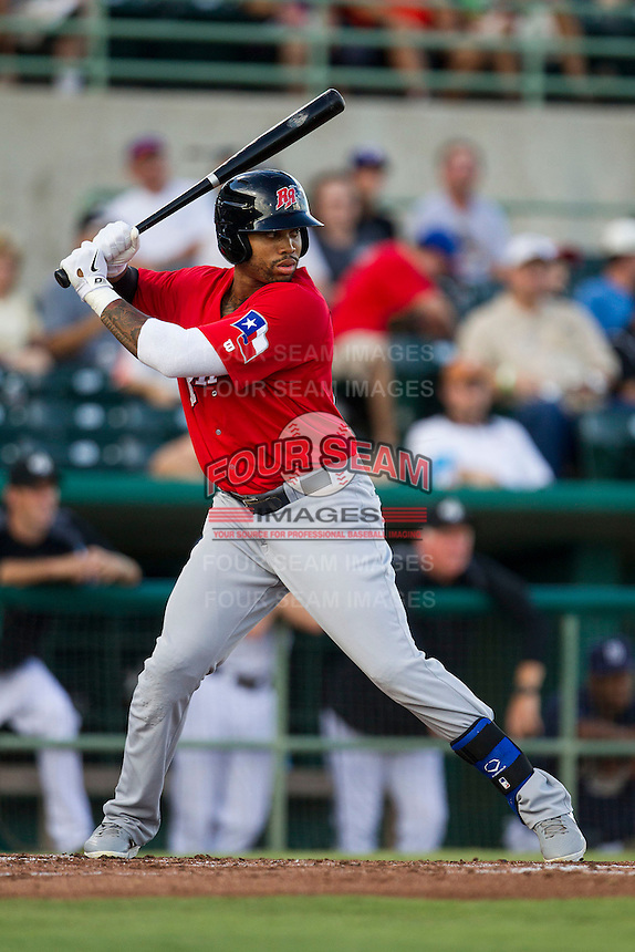 Frisco Roughriders designated hitter Kalian Sams (26) at bat in the Texas League baseball game against the San Antonio Missions on August 22, 2013 at the Nelson Wolff Stadium in San Antonio, Texas. Frisco defeated San Antonio 2-1. (Andrew Woolley/Four Seam Images)