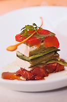 Europe/France/Rhône-Alpes/74/Haute Savoie/Morzine: Pressé de légumes confits et Tofu, vinaigrette au soja, recette de Lionel Cotentin du  Restaurant: Le Chalet  Philibert