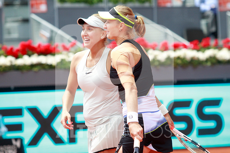 Ekaterina Makarova and Elena Vesnina, Russia, celebrate the victory in the Madrid Open Tennis 2018 WTA Doubles Final match. May 12, 2018.(ALTERPHOTOS/Acero)