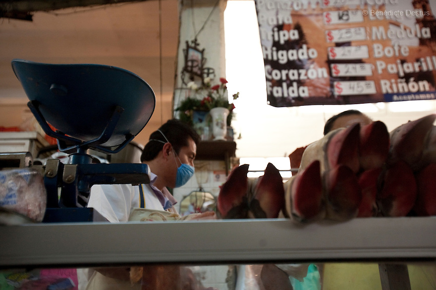 April 25, 2009 - Mexico City, Mexico - A butcher sells pig feet in a market. He wears a surgical mask to protect himself from the swine Flu. Photo credit: Benedicte Desrus / Sipa Press