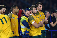 James Slipper of Australia looks dejected after the match. Rugby World Cup Final between New Zealand and Australia on October 31, 2015 at Twickenham Stadium in London, England. Photo by: Patrick Khachfe / Onside Images
