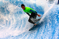 Collegiate Nationals, San Diego, CA.  Saturday, April 19 2008.  Trevor Kelly (18) of Mesa competes in the semi-finals of the Flowboarding competiion at the Wavehouse in Mission Beach, San Diego, CA.