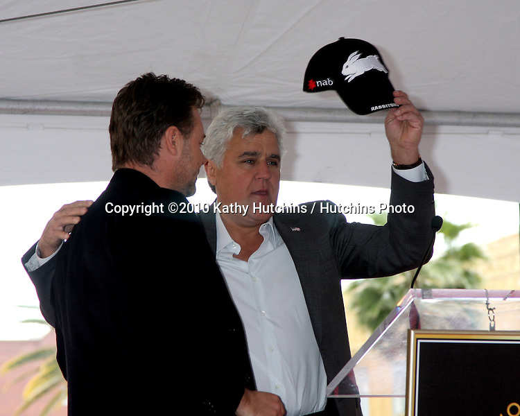 Russell Crowe & Jay Leno.at the ceremony where Russell Crowe Receives a Star on the Hollywood Walk of Fame.Kodak Theater.Los Angeles, CA.April 12, 2010.©2010 Kathy Hutchins / Hutchins Photo...