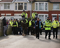 Fleetwood Town fans get a police escort into the ground<br /> Photographer Lee Parker/CameraSport<br /> <br /> The EFL Sky Bet League One - Fleetwood Town v Blackpool - Saturday 7th March 2020 - Highbury Stadium - Fleetwood<br /> <br /> World Copyright © 2020 CameraSport. All rights reserved. 43 Linden Ave. Countesthorpe. Leicester. England. LE8 5PG - Tel: +44 (0) 116 277 4147 - admin@camerasport.com - www.camerasport.com