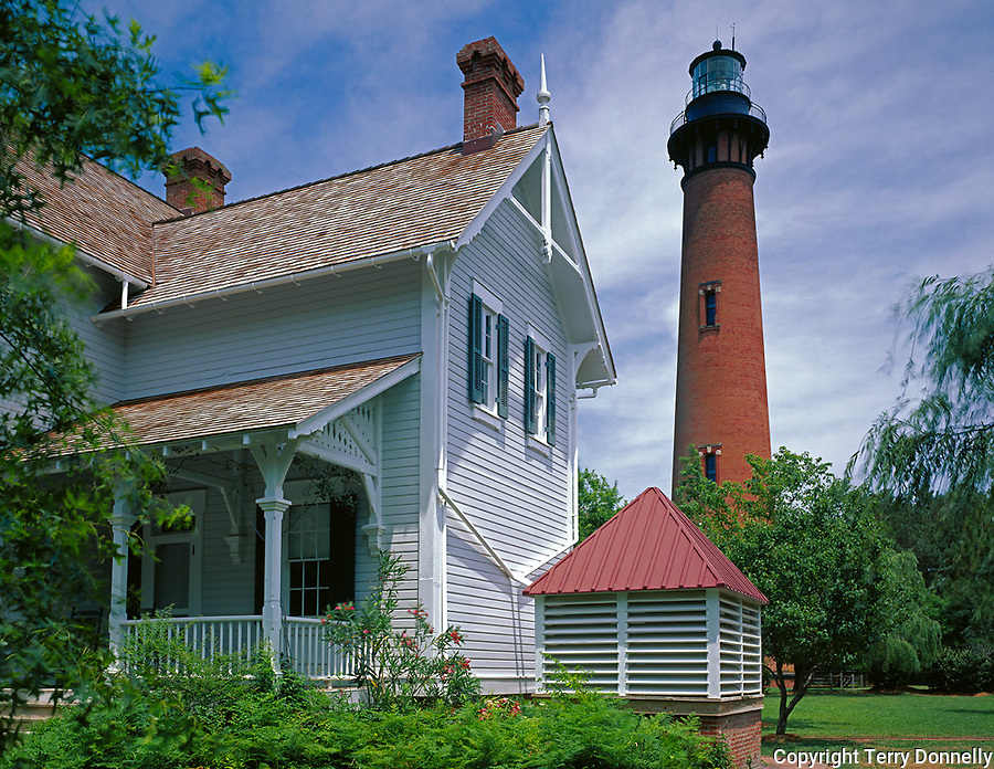 Cape Hatteras National Seashore, NC:<br /> Currituck Beach Lighthouse (1875) and the Victorian style Keeper's House (1876) on the Outer Banks near Corolla, NC