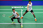 Mohammad Ahsan and Rian Agung Saputro of Indonesia compete against Carsten Mogensen and Mathias Boe of Denmark  during their Men's Doubles Semi-Final of YONEX-SUNRISE Hong Kong Open Badminton Championships 2016 at the Hong Kong Coliseum on 26 November 2016 in Hong Kong China. Photo by Marcio Rodrigo Machado / Power Sport Images
