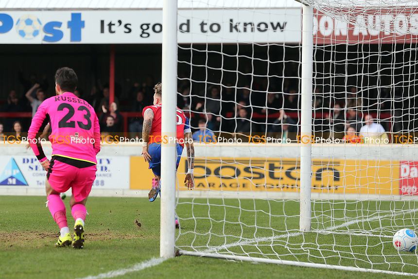Jordan Maguire-Drew of Dagenham celebrates scoring the opening goal during Dagenham & Redbridge vs Forest Green Rovers, Vanarama National League Football at the Chigwell Construction Stadium on 11th March 2017