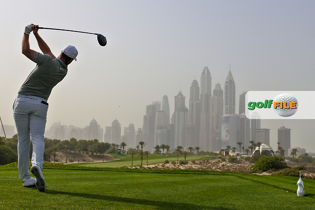 Lucas Bjerregaard (DEN) on the 8th tee during Round 1 of the Omega Dubai Desert Classic, Emirates Golf Club, Dubai,  United Arab Emirates. 24/01/2019<br /> Picture: Golffile | Thos Caffrey<br /> <br /> <br /> All photo usage must carry mandatory copyright credit (© Golffile | Thos Caffrey)
