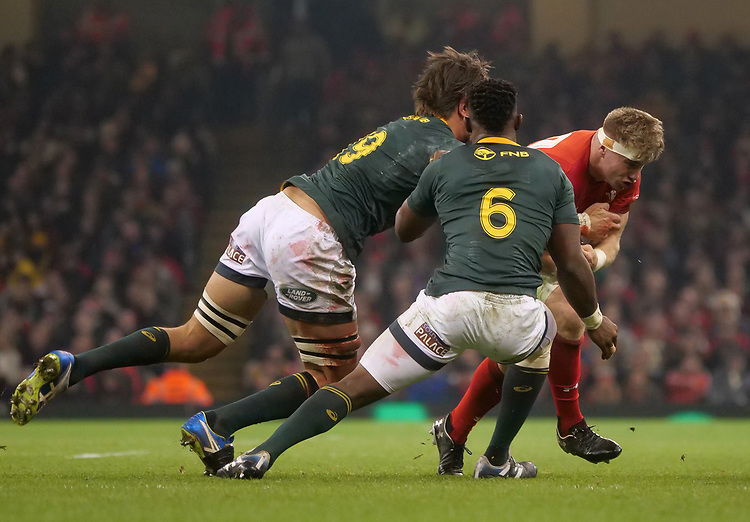 Wales' Aaron Wainwright takes on South Africa's Eben Etzebeth<br /> <br /> Photographer Ian Cook/CameraSport<br /> <br /> Under Armour Series Autumn Internationals - Wales v South Africa - Saturday 24th November 2018 - Principality Stadium - Cardiff<br /> <br /> World Copyright © 2018 CameraSport. All rights reserved. 43 Linden Ave. Countesthorpe. Leicester. England. LE8 5PG - Tel: +44 (0) 116 277 4147 - admin@camerasport.com - www.camerasport.com