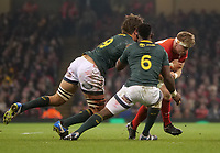 Wales' Aaron Wainwright takes on South Africa&rsquo;s Eben Etzebeth<br /> <br /> Photographer Ian Cook/CameraSport<br /> <br /> Under Armour Series Autumn Internationals - Wales v South Africa - Saturday 24th November 2018 - Principality Stadium - Cardiff<br /> <br /> World Copyright &copy; 2018 CameraSport. All rights reserved. 43 Linden Ave. Countesthorpe. Leicester. England. LE8 5PG - Tel: +44 (0) 116 277 4147 - admin@camerasport.com - www.camerasport.com