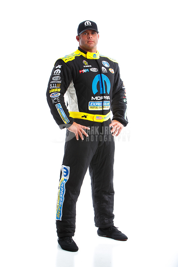 Feb 8, 2017; Pomona, CA, USA; NHRA funny car driver Matt Hagan poses for a portrait during media day at Auto Club Raceway at Pomona. Mandatory Credit: Mark J. Rebilas-USA TODAY Sports