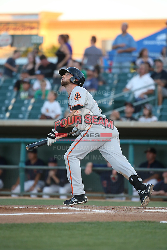 T.J. Bennett (12) of the San Jose Giants bats against the Lancaster JetHawks during the second game of a doubleheader at The Hanger on July 14, 2016 in Lancaster, California. Lancaster defeated San Jose, 3-0. (Larry Goren/Four Seam Images)
