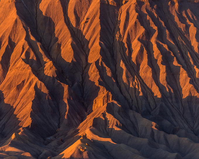 The stripes of the unique sandstone formations of Utah's badlands.