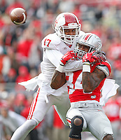 Ohio State Buckeyes wide receiver Corey Smith (84) cannot quite pull in the reception as ndiana Hoosiers cornerback Michael Hunter (17) appears to interfere in the second half at Ohio Stadium on 22, 2014. (Chris Russell/Dispatch Photo)