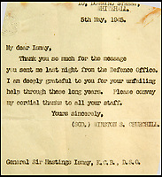 BNPS.co.uk (01202 558833)<br /> Pic: C&amp;T/BNPS<br /> <br /> Memo from Churchill thanking Gen Ismay and his staff as the War ended.<br /> <br /> A humble secretary's remarkable first hand archive of some of the most momentous events of WW2 has come to light.<br /> <br /> 'Miss Brenda Hart' worked in the Cabinet Office during the last two years of the war, travelling across the globe with the Allied leaders as the conflict drew to a close.<br /> <br /> Her unique collection of photographs and momentoes of Churchill, Stalin and other prominent Second World War figures have been unearthed after more than 70 years.<br /> <br /> The scrapbooks, which also feature Lord Mountbatten and Vyacheslav Molotov, were collated by Brenda Hart who, in her role as secretary to Churchill's chief of staff General Hastings Ismay, enjoyed incredible access to him and other world leaders.<br /> <br /> She also wrote a series of letters which give fascinating insights, including watching Churchill and Stalin shaking hands at the Bolshoi ballet in 1944, being behind Churchill as he walked out on to the balcony at the Ministry of Health to to wave to some 50,000 Londoners on VE day and even visiting Hitler's bombed out Reich Chancellery at the end of the war.<br /> <br /> This unique first hand account, captured in a collection of photos, passes, documents and letters are being sold at C&amp;T auctioneers on15th March with a &pound;1200 estimate.