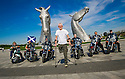 Dr Bob Grant, who lost his leg to cancer, is joined by riders from the Harley Davidson Dunedin Chapter, as he launches the fundraising drive for his 117-mile walk for Maggie's at the Kelpies......<br />