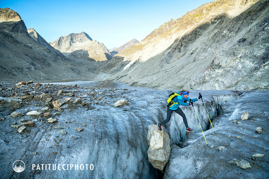 The Chamonix to Zermatt Glacier Haute Route. In late August 2017, we ran the tour in mountain running gear, running shoes, and all the necessary glacier travel and crevasse rescue gear.  Crossing a crevasse on the Glacier d'Otemma.