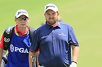 Shane Lowry (IRL) and caddy Demot Byrne on the 1st green during Saturday's Round 3 of the 2017 PGA Championship held at Quail Hollow Golf Club, Charlotte, North Carolina, USA. 12th August 2017.<br /> Picture: Eoin Clarke | Golffile<br /> <br /> <br /> All photos usage must carry mandatory copyright credit (&copy; Golffile | Eoin Clarke)