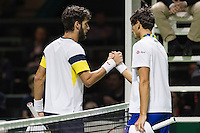 ABN AMRO World Tennis Tournament, Rotterdam, The Netherlands, 13 februari, 2017, Feliciano Lopez (ESP), Pierre Hugues Herbert (FRA)<br /> Photo: Henk Koster