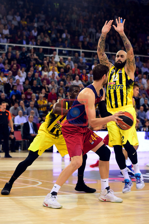 Turkish Airlines Euroleague 2016/2017.<br /> Regular Season - Round 2.<br /> FC Barcelona Lassa vs Fenerbahce Istanbul: 72-73.<br /> Ekpe Udoc, Ante Tomic &amp; Pero Antic.