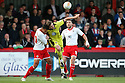 Jamaal Lascelles of Stevenage (on loan from Nottm Forest) and Chris Porter of Sheffield United challenge for a header. - Stevenage v Sheffield United - npower League 1 Play-off semi-final 1st leg - Lamex Stadium, Stevenage  - 11th May, 2012. © Kevin Coleman 2012