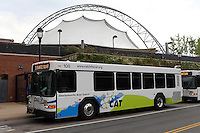 The Charlottesville area transit bus at the transit station in downtown Charlottesville.