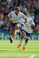 Paul Perez of Samoa in full flight during Match 6 of the Rugby World Cup 2015 between Samoa and USA - 20/09/2015 - Brighton Community Stadium, Brighton <br /> Mandatory Credit: Rob Munro/Stewart Communications