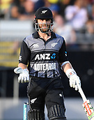 8th February 2019, Eden Park, Auckland, New Zealand;  Kane Williamson asks about the wicket of Mitchell. New Zealand v India in the Twenty20 International cricket, 2nd T20.