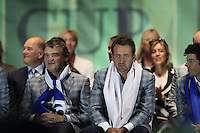 European Team Players Paul Lawrie, Graeme McDowell and Rory McIlroy (NIR) on stage at the Closing Ceremony after Sunday's Singles Matches of the 39th Ryder Cup at Medinah Country Club, Chicago, Illinois 30th September 2012 (Photo Colum Watts/www.golffile.ie)