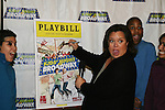 Rosie O'Donnell (All My Children) - by poster - heads up the 13th Kids Night on Broadway at Madame Toussaud's Wax Museum in New York City. It is now possible for kids to go free to Broadway plays with a paying adult each month. Also many Broadway actors gave their time to signing for the kids. (Photo by Sue Coflin/Max Photos)