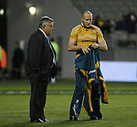 Australian coach John Connolly (L) and Stirling Mortlock. All Blacks v Australia Philips Tri Nations rugby match. Eden Park, Auckland, New Zealand. Saturday 21 July 2007.