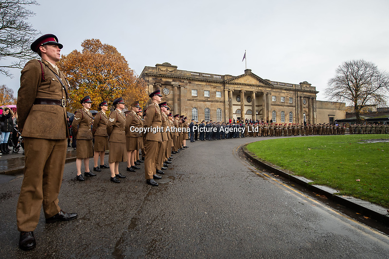 Pictured: A parade in York. Sunday 11 November 2018<br /> Re: Commemoration for the 100 years since the end of the First World War on Remembrance Sunday at York Minster, England, UK