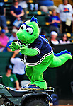 """18 July 2010: Vermont Lake Monsters Macot Champ entertains the fans at a game against the Staten Island Yankees at Centennial Field in Burlington, Vermont. The Lake Monsters, dressed in their Breast Cancer Awareness """"Pinks"""", fell to the Yankees 9-5 in NY Penn League action. Mandatory Credit: Ed Wolfstein Photo"""