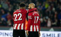Sheffield United's Lys Mousset and David McGoldrick celebrate after they went 1-0 up <br /> <br /> Photographer Alex Dodd/CameraSport<br /> <br /> The Premier League - Sheffield United v Manchester United - Sunday 24th November 2019 - Bramall Lane - Sheffield<br /> <br /> World Copyright © 2019 CameraSport. All rights reserved. 43 Linden Ave. Countesthorpe. Leicester. England. LE8 5PG - Tel: +44 (0) 116 277 4147 - admin@camerasport.com - www.camerasport.com