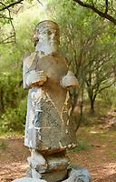 Pictures & images of the South Gate Hittite sculpture statue of Hittite Storm God Tarhunzas ( Tarḫunz Tarḫunna or in Hurrian Teshub or in Phoenician Baal Krntrys ). 8th century BC. Karatepe Aslantas Open-Air Museum (Karatepe-Aslantaş Açık Hava Müzesi), Osmaniye Province, Turkey.