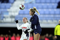 CHAPEL HILL, NC - NOVEMBER 16: Taylor Otto #6 of the University of North Carolina heads the ball over Kameron Ziesig #5 of Belmont University during a game between Belmont and North Carolina at UNC Soccer and Lacrosse Stadium on November 16, 2019 in Chapel Hill, North Carolina.