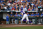 OMAHA, NE - JUNE 26: Antoine Duplantis (20) of Louisiana State University hits a solo home run against the University of Florida during the Division I Men's Baseball Championship held at TD Ameritrade Park on June 26, 2017 in Omaha, Nebraska. The University of Florida defeated Louisiana State University 4-3 in game one of the best of three series. (Photo by Justin Tafoya/NCAA Photos via Getty Images)