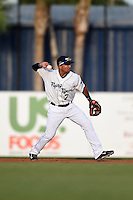 Lakeland Flying Tigers second baseman Javier Betancourt (7) throws to first during a game against the Tampa Yankees on April 9, 2015 at Joker Marchant Stadium in Lakeland, Florida.  Tampa defeated Lakeland 2-0.  (Mike Janes/Four Seam Images)