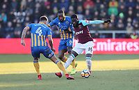 West Ham United's Arthur Masuaku and Shrewsbury Town's Ben Godfrey and Abu Ogogo<br /> <br /> Photographer Rob Newell/CameraSport<br /> <br /> The Emirates FA Cup Third Round - Shrewsbury Town v West Ham United - Sunday 7th January 2018 - New Meadow - Shrewsbury<br />  <br /> World Copyright &copy; 2018 CameraSport. All rights reserved. 43 Linden Ave. Countesthorpe. Leicester. England. LE8 5PG - Tel: +44 (0) 116 277 4147 - admin@camerasport.com - www.camerasport.com