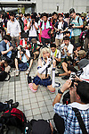 A cosplayer poses for the cameras during the ''Comic Market 88 Summer 2015'' exhibition at Tokyo Big Sight on August 14, 2015, Tokyo, Japan. Thousands of manga and anime fans attended the first day of the Comic Market 88 (Comiket) at Tokyo Big Sight. The Comic Market was established in 1975 to allow fans and artists to interact and focuses on manga, anime, gaming and cosplay. The exhibition is held from August 14th to 16th and Comiket organisers expect more than 500,000 visitors to attend. (Photo by Rodrigo Reyes Marin/AFLO)