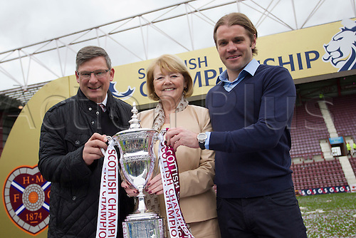 02.05.2015.  Edinburgh, Scotland. Scottish Championship. Hearts versus Rangers. Hearts Manager Robbie Neilson with Owner Ann Budge and Director of Football Craig Levien with the SPFL Championship trophy.