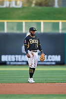 Luis Rengifo (5) of the Salt Lake Bees on defense against the Sacramento River Cats at Smith's Ballpark on April 12, 2019 in Salt Lake City, Utah. The River Cats defeated the Bees 4-2. (Stephen Smith/Four Seam Images)