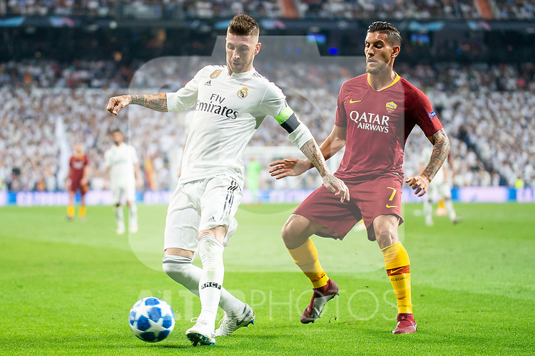 Real Madrid Sergio Ramos and A.S. Roma Lorenzo Pellegrini during UEFA Champions League match between Real Madrid and A.S.Roma at Santiago Bernabeu Stadium in Madrid, Spain. September 19, 2018. (ALTERPHOTOS/Borja B.Hojas)