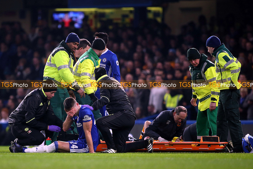Chelsea's Gary Cahill starts to recover from his clash of heads with Hull's Ryan Mason during Chelsea vs Hull City, Premier League Football at Stamford Bridge on 22nd January 2017
